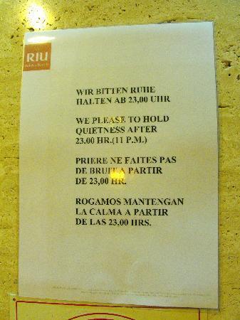 Hotel Riu Playa Park : Mantengan la calma.