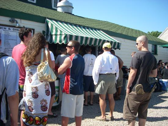 Rebecca's Seafood Takeout: The takeout window at Rebecca's is very popular