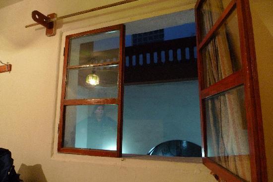 Hostal La Reyna: One of our bedroom windows.