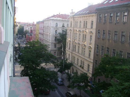 Hotel Anna: View from the room. The Budecska Street is a quiet street, formed by mostly 19th century residen
