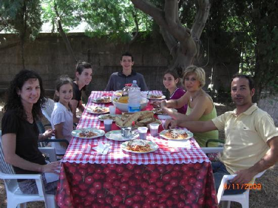 Monte Etna: Enjoying our Sicilian cuisine after our cooking class with Angela and Sebastiano