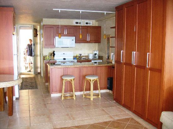 Maui Kai: view of kitchen and living area, bed folded up on eight