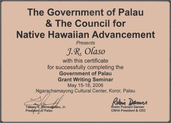 กอโรร์, ปาเลา: May 15-18, 2006 The Government of Palau & The Council for NHA