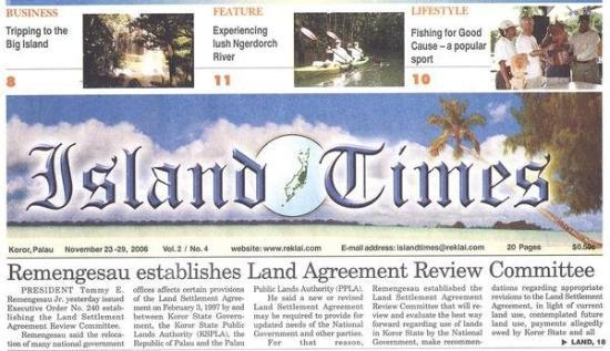 กอโรร์, ปาเลา: Island Times November 23-November 29 2006...My Last Week Overseas