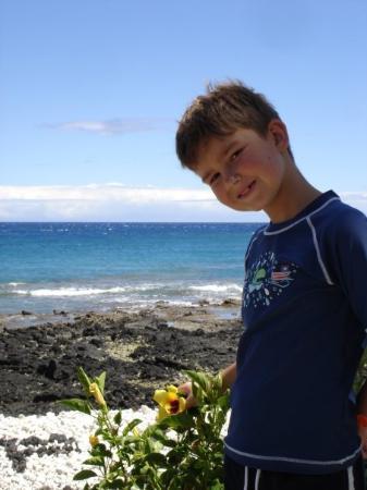 Hilo, ฮาวาย: Island beauty:  turquoise waters, volcanic rock, stunning flowers and a happy go lucky son.