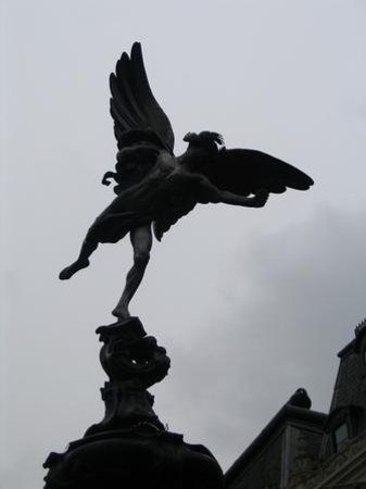 Statue of Eros (Anteros): Eros - London.  Legend states that you can be from anywhere in the world, and if you stand by th