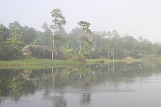 อีกีโตส, เปรู: A small village on a tributary of the Amazon River, taken on a foggy morning