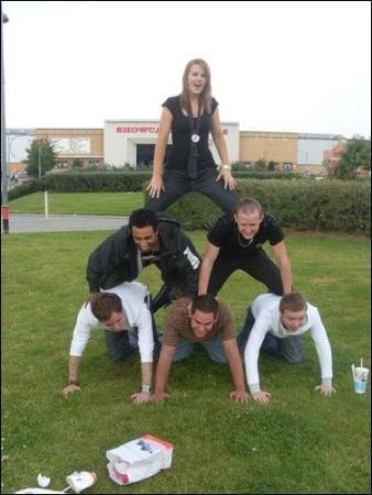 Dudley, UK: human pyramid