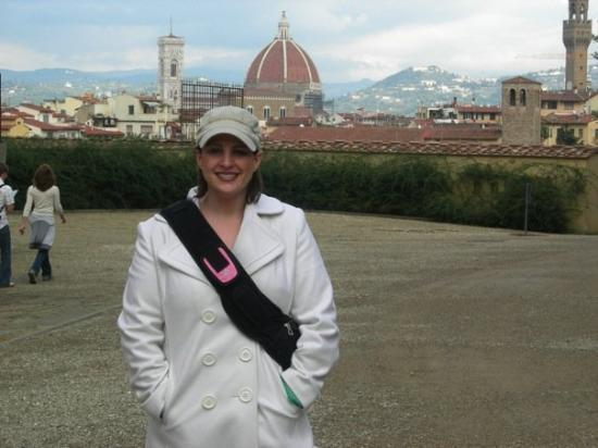 Palazzo Pitti: me at the Boboli Gardens at the Pitti Palace - that's the city of Florence in the background