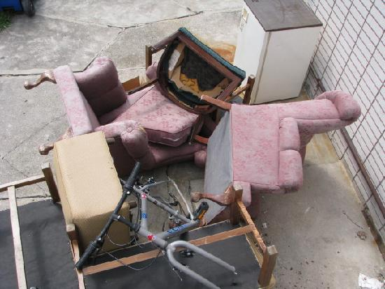 Arkona Motel: piled old furniture