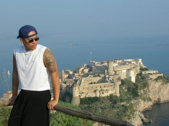 With downtown Gaeta, Italy in my backround.