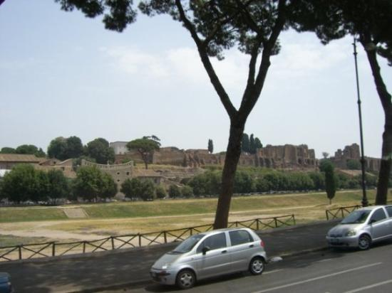 Palatine Hill overlooking Circus Maximus, where they had chariot races, gladiator contests and m
