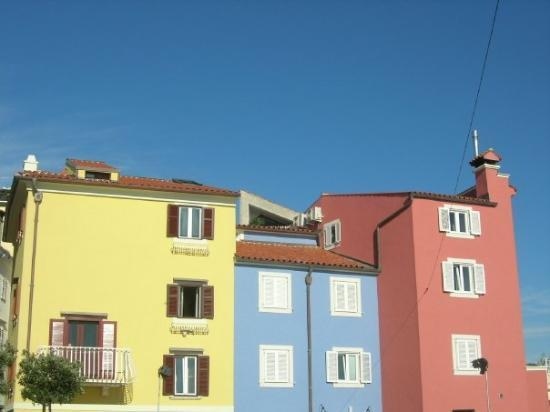 Piran, Slovenia, typicall colorfull slovenian houses