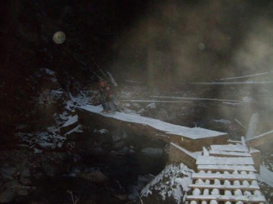 แคมลูปส์, แคนาดา: The rickety bridge to the falls.