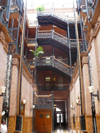 The Bradbury Building, Downtown LA. It is a historiacal landmark, and has been used in many movi