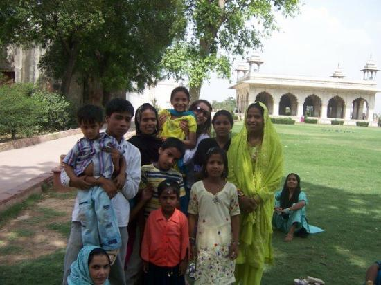 Red Fort (Lal Quila): Local tourists inside the fort area posing with a tourist.