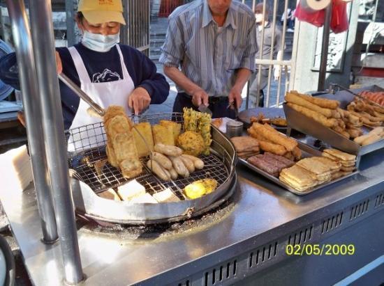 ไทเป, ไต้หวัน: 售賣炸物的小販
