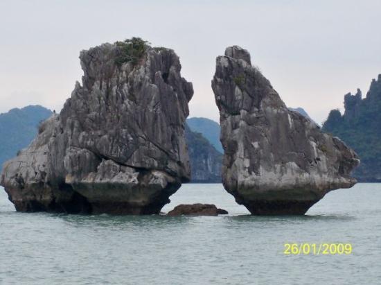 ฮาลองเบย์, เวียดนาม: 下龍灣地標──鬥雞島(外國人稱為接吻島)