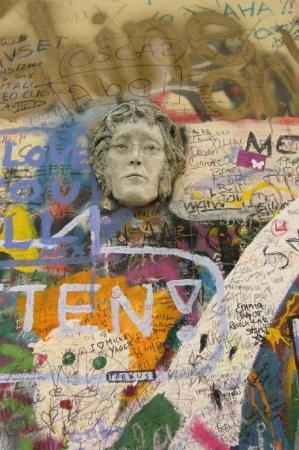 John Lennon Wall: The Lennon Wall..he became the pacifist hero during Prague's totalitarian era.