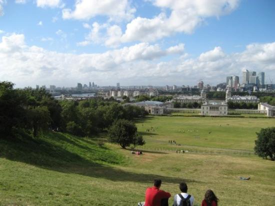 Greenwich ja London Eyen näkymät mennen tullen hakkaava maisema.