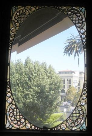 Winchester Mystery House: View through a leaded glass door.