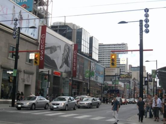 โตรอนโต, แคนาดา: yonge street in downtown toronto, the longest street in the world at 1800+km