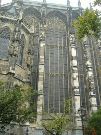Aachen Cathedral (Dom): 60 ft tall stain glass.  Even more impressive from inside.