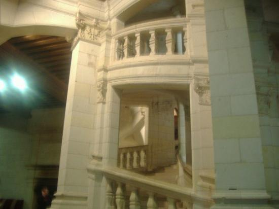 Château de Chambord: Double sprial staircase in the chateaux designed by da Vinci.