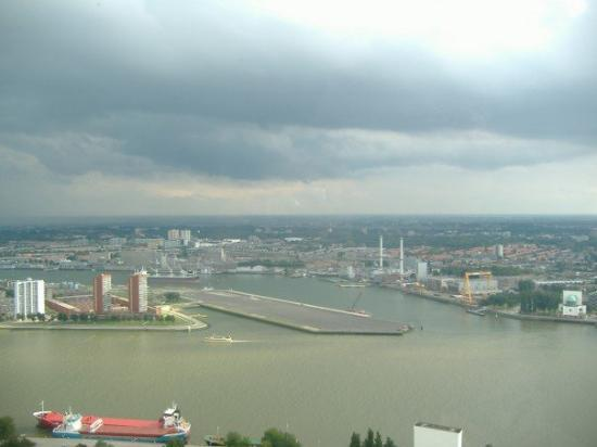 Euromast Tower: The harbor.  At this point, we're in an elevator which takes us 185 m above the ground.