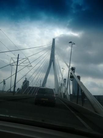 Erasmus Bridge: Driving over the Erasmusbridge.  I don't know how this picture is out of order???