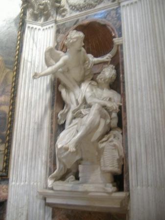 Angel Tours Rome: Habakuk and the Angel in the Chigi Chapel.  I think this angel is pointing somewhere, too! Haha.