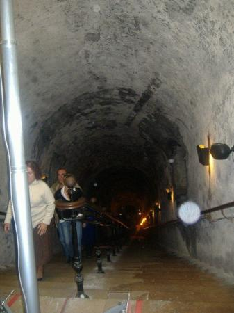 Champagnes Pommery: Down into the champagne cellars.