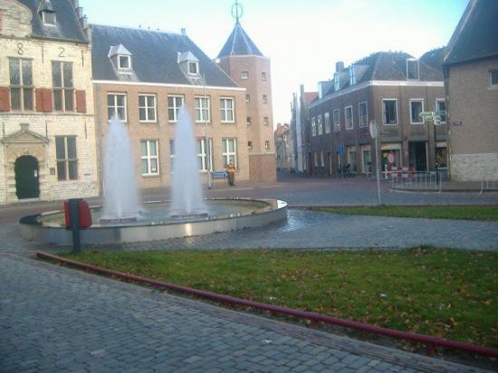 มิดเดลเบิร์ก, เนเธอร์แลนด์: Fountain.  And that guy seems to be guarding that blue sign.