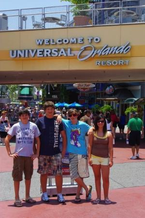 Universal CityWalk: Me, Corey, Luke, and Kenzie at the the entrance to universal