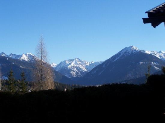 Schladming, ออสเตรีย: Mountains in Schlad...and yes, I did take this photo from my deck off my bedroom in my house on
