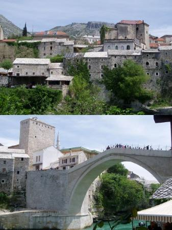 Old Bridge Area of the Old City of Mostar: MOSTAR- BIH