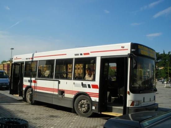 """ติรานา, แอลเบเนีย: Градски автобус пред Операта на пл. """"Скендербег"""""""