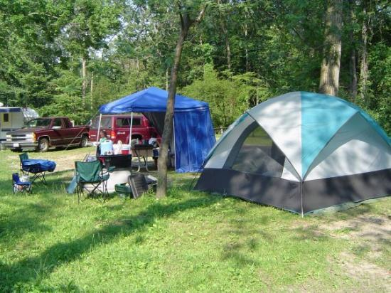 Sawyer, มิชิแกน: Our campsite at Warren Dunes State Park along Lake Michigan in Michigan in the summer of 2006.