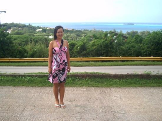 Coffee Care Saipan : In front of Coffee Care, Capital Hill, Saipan, with Managaha Island in the background, Christmas