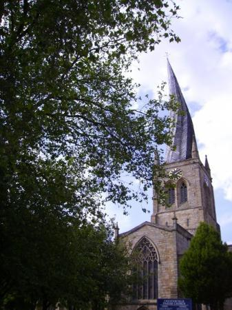 The Parish Church of St Mary and All Saints: Twisted spire, Chesterfield, Derbyshire  (taken blind out of the car window while facing the ot