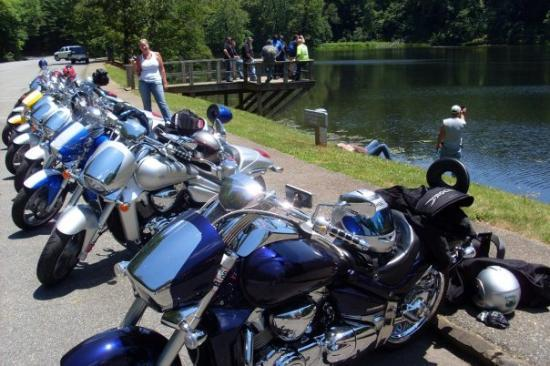 Taking a break at Otter Lake along the Blue Ridge Parkway...whew was it ever hot in the sun!