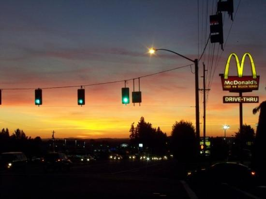 A Sandy sunset... or McDonalds at sunset.