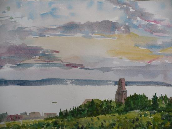 Burgunderhof Hagnau: watercolour, view from our room, Traub