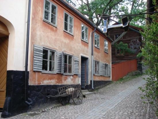 พิพิธภัณฑ์กลางแจ้งสกันเซน: Skansen - Museo al aire libre mas grande del mundo.  Esta parte tiene edificios tipicos de las