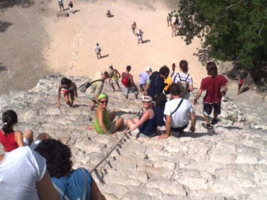 Coba, เม็กซิโก: bajando de las alturas de la pirámide.