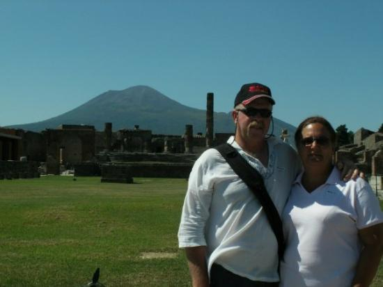 The Forum in Pompeii, Italy with Mount Vesuvius in the background.
