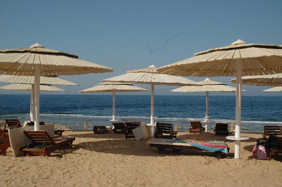 Resta Reef Resort: La spiaggia e i lettini con paravento