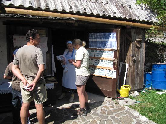 Skofja Loka, Slovenia: Sarah getting a secret Slovenian cake recipe!