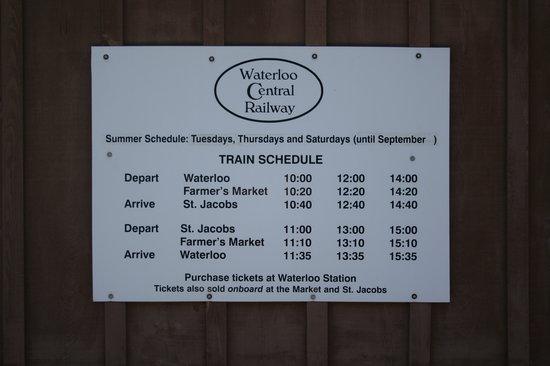 Waterloo Central Railway: WCR Schedule