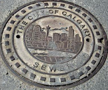 Manhole cover - Calgary skyline